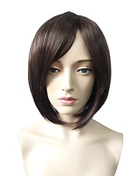 cheap -Synthetic Wig Straight Bob Haircut / Short Bob Synthetic Hair Fashionable Design / Heat Resistant / Party Dark Brown Wig Women's Short Capless