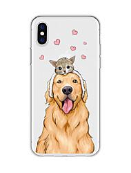 Недорогие -Кейс для Назначение Apple iPhone X / iPhone 8 Plus С узором Кейс на заднюю панель Кот / С собакой / С сердцем Мягкий ТПУ для iPhone X / iPhone 8 Pluss / iPhone 8