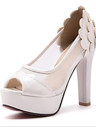 abordables -Mujer Zapatos PU Verano Pump Básico Tacones Tacón Cuadrado Punta abierta Negro / Rosa / Almendra / Fiesta y Noche / Fiesta y Noche