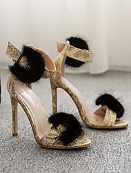 preiswerte -Damen Schuhe Lackleder Sommer Pumps Sandalen Stöckelabsatz für Gelb