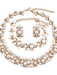 cheap -Women's Jewelry Set - Imitation Pearl, Gold Plated Classic, Fashion, Oversized Include Chain Bracelet / Hoop Earrings / Choker Necklace White For Wedding / Birthday / Bridal Jewelry Sets