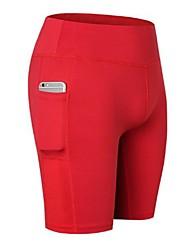 baratos -Mulheres Bolsos Shorts De Yoga - Preto, Vermelho, Azul Esportes Sólido Elastano Shorts Roupas Esportivas Leve, Secagem Rápida, Design Anatômico Com Stretch