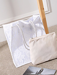 economico -Per donna Sacchetti Cotone / poliestere Tote Set di borsa da 2 pezzi Cerniera / Traforato Bianco / Nero