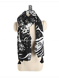 cheap -Women's Basic Cotton / Linen Rectangle - Floral Tassel / Spring / Fall