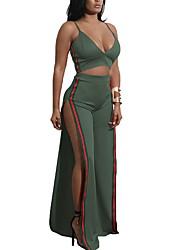 cheap -Women's Holiday / Going out Basic / Boho Cotton Skinny Long Set - Solid Colored / Color Block, Backless / Split / Patchwork Dress Strap / Strapless / Off Shoulder / Deep V / Summer