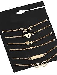abordables -Femme Géométrique Chaînes & Bracelets / Charmes pour Bracelets - Cœur Rétro Bracelet Or Pour Rendez-vous / Plein Air