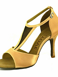 cheap -Women's Latin Shoes / Salsa Shoes Satin Sandal / Heel Buckle / Ribbon Tie Customized Heel Customizable Dance Shoes Yellow / Fuchsia / Purple / Performance / Leather / Professional