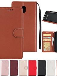 Недорогие -Кейс для Назначение SSamsung Galaxy A7(2016) / A5(2017) Кошелек / Бумажник для карт / со стендом Чехол Однотонный Твердый Кожа PU для A3 (2017) / A5 (2017) / A7 (2017)