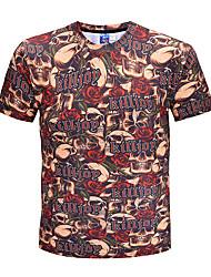 billige Herremode og tøj-Herre - Farveblok Dødningehoveder overdrevet Gade T-shirt