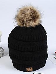 Недорогие -Жен. Активный Широкополая шляпа Хлопок, Однотонный / Осень / Зима