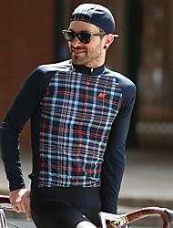 baratos -Mysenlan Homens Manga Longa Camisa para Ciclismo Xadrez / Quadrados Moto Camisa / Roupas Para Esporte Poliéster Tafetá / Micro-Elástica / Especialista / Axilas Respiráveis