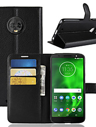 cheap -Case For Motorola Moto G6 Play / MOTO G6 Card Holder / Wallet / Flip Full Body Cases Solid Colored Hard PU Leather for Moto Z2 play /