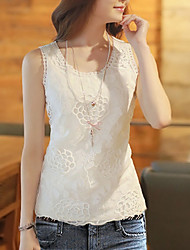 cheap -Women's Basic / Street chic T-shirt - Solid Colored Lace / Cut Out