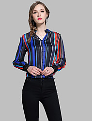 baratos -Mulheres Camisa Social Temática Asiática Estampado, Geométrica