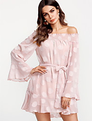 cheap -Women's Holiday Butterfly Sleeves Silk A Line Dress - Solid Color Lace High Waist Mini Stand / Spring / Flare Sleeve