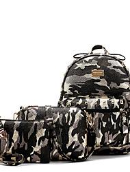 baratos -Mulheres Bolsas PU Leather Conjuntos de saco 3 Pcs Purse Set Miçangas / Tachas / Estampa para Ao ar livre Cinzento / Roxo / Verde Claro