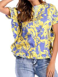 abordables -Mujer Básico Chic de Calle Estampado Camiseta Floral