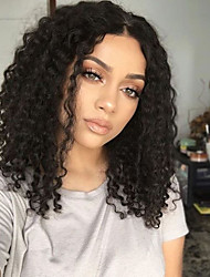 cheap -Synthetic Lace Front Wig Curly Side Part 150% Density Synthetic Hair With Baby Hair / Heat Resistant / Natural Hairline Black / Dark Brown