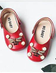 baratos -Para Meninas Sapatos Couro Ecológico Primavera Verão Sapatos para Daminhas de Honra Sapatos de Barco Pérolas Sintéticas para Ao ar livre