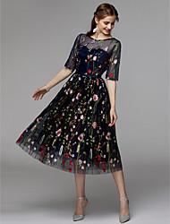 preiswerte -A-Linie Illusionsausschnitt Tee-Länge Organza / Satin - Chiffon Kleines Schwarzes Kleid Cocktailparty Kleid mit Stickerei durch TS Couture®