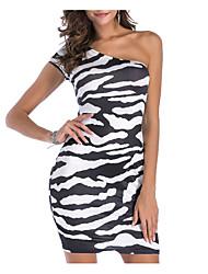 Недорогие -Жен. Классический / Уличный стиль Облегающий силуэт Платье - Леопард, Открытая спина / С принтом Выше колена