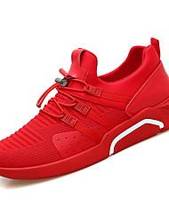 baratos -Homens sapatos Borracha Verão / Outono Conforto Tênis Caminhada Preto / Vermelho