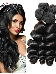 cheap -Peruvian Hair / Loose Wave Loose Wave Virgin Human Hair Natural Color Hair Weaves / Extension / Human Hair Extensions 4 Bundles Human Hair Weaves Cosplay / Soft / Hot Sale Natural Black Human Hair