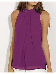 cheap -Women's Blouse - Solid Colored Halter Neck