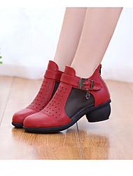 baratos -Mulheres Botas de Dança Couro Ecológico Têni Salto Baixo Sapatos de Dança Preto / Bege / Vermelho / Espetáculo / Ensaio / Prática