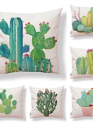 cheap -6 pcs Textile / Cotton / Linen Pillow case, Art Deco / Simple / Printing Square Shaped / Outdoor