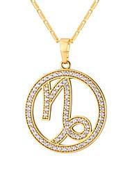 preiswerte -Kubikzirkonia Tierkreis Anhängerketten - Steinbock 12.22-1.19 Modisch Gold, Silber 55 cm Modische Halsketten Für Alltag