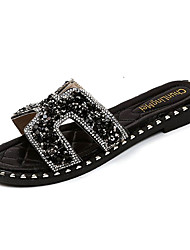 cheap -Women's Shoes PU Summer Comfort Slippers & Flip-Flops Low Heel Round Toe Rhinestone for Black Silver Red