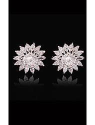 abordables -Femme Cristal Plaqué or S925 argent sterling Balle Européen Mode Bijoux Blanc et argent Adorable pour Plein Air Vacances 1pc