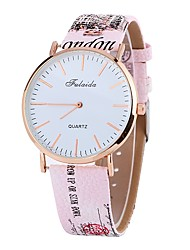 cheap -Women's Wrist Watch Quartz Casual Watch Large Dial PU Band Analog Flower Fashion Black / White / Blue - Red Blue Pink One Year Battery Life