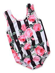 cheap -Kids Toddler Girls' Black & White Floral Print Sleeveless Swimwear
