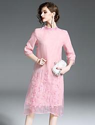baratos -Mulheres Temática Asiática Reto Vestido - Bordado, Floral Médio