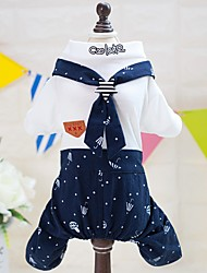 cheap -Dogs Cats Furry Small Pets Pets Jumpsuit Dog Clothes Polka Dot Letter & Number Stars Dark Blue Cotton / Polyester Costume For Pets Male
