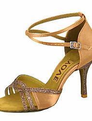 preiswerte -Damen Schuhe für den lateinamerikanischen Tanz / Salsa Tanzschuhe Seide / Satin Sandalen / Absätze Leistung / Professionell Schnalle /