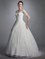 cheap -Ball Gown Illusion Neck Sweep / Brush Train Lace Made-To-Measure Wedding Dresses with Appliques by LAN TING BRIDE® / Illusion Sleeve