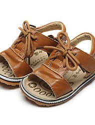 Недорогие -Девочки Обувь Кожа Лето Обувь для малышей Сандалии На липучках для Ребёнок до года Темно-русый / Темно-зеленый