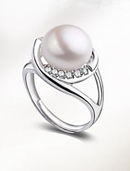 cheap -Women's Freshwater Pearl Band Ring - Pearl, S925 Sterling Silver, Freshwater Pearl Ball Classic, Fashion Adjustable Silver For Party / Daily