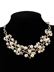 cheap -Bib Choker Necklace - Imitation Pearl Flower European, Sweet Gold, Silver 54 cm Necklace For Wedding, Evening Party