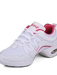 baratos -Mulheres Tênis de Dança Couro Ecológico Têni Salto Grosso Personalizável Sapatos de Dança Branco / Preto e Dourado / Preto / Vermelho
