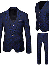 cheap -Men's Party Daily Business Casual Slim Suits-Floral Notch Lapel / Please choose one size larger according to your normal size.