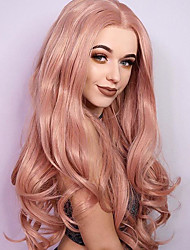 cheap -Synthetic Lace Front Wig Wavy Blonde Middle Part Synthetic Hair Heat Resistant / Dark Roots / African American Wig Blonde Wig Women's Long Lace Front