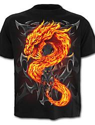 cheap -Men's Skull / Street chic Plus Size Cotton T-shirt - Color Block / Animal / Skull Dragon, Print / Short Sleeve