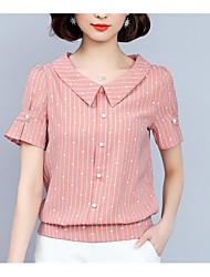 preiswerte -Damen Solide - Retro T-shirt Rückenfrei Blau & Weiß