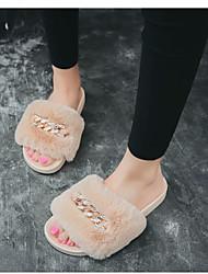 baratos -Mulheres Sapatos Flanelado Primavera Verão Conforto Rasos Sem Salto Ponta Redonda Cinzento / Rosa claro / Khaki