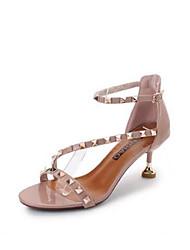 preiswerte -Damen Schuhe PU Sommer Pumps Sandalen Stöckelabsatz Peep Toe Niete / Schnalle für Draussen Beige / Rosa