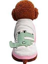 Недорогие -Собаки Коты Животные Футболка Одежда для собак Контрастных цветов Персонажи Животное Зеленый Розовый Хлопок / полиэфир Костюм Для